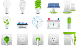 Energie- und Elektrizitätsikonen Stockfoto