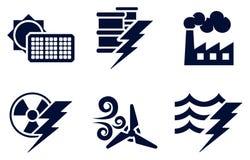 Energie-und Energie-Ikonen Lizenzfreie Stockfotos