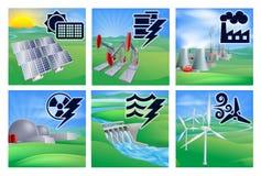 Energie-und Energie-Ikonen Stockfoto