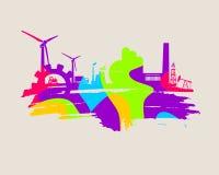 Energie- und Energieikonen eingestellt Geschmierte Stelle Stockfoto