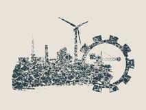 Energie- und Energieikonen eingestellt Geschmierte Stelle Stockbilder