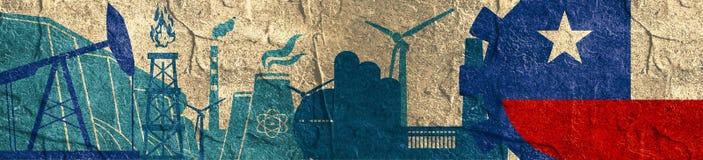 Energie- und Energieikonen eingestellt Titelfahne mit Chile-Flagge Lizenzfreie Stockfotos