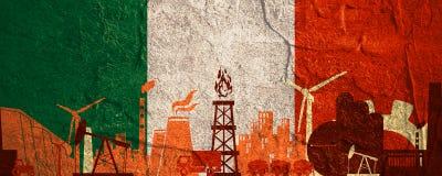 Energie- und Energieikonen eingestellt Titelfahne mit Italien-Flagge Lizenzfreies Stockfoto