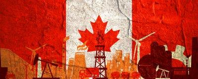 Energie- und Energieikonen eingestellt Titelfahne mit Kanada-Flagge Lizenzfreie Stockfotografie