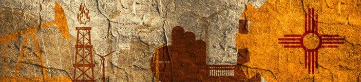 Energie- und Energieikonen eingestellt Titelfahne mit New Mexiko-Flagge Lizenzfreies Stockfoto