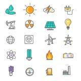 Energie- und Ressourcenikonensatz Lizenzfreie Stockfotografie