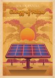 Energie von Zukunft, Sonnenkollektorvektor-Weinleseillustration Retro- Plakatart lizenzfreie abbildung