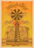 Energie von Zukunft, Windmühlvektorweinleseillustration stock abbildung