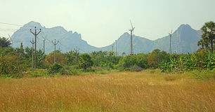Energiealternatieven 6 Windlandbouwbedrijf in Indische provincie van Kerala Royalty-vrije Stock Foto's