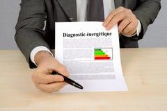 Energiediagnose in het Frans wordt geschreven dat royalty-vrije stock foto