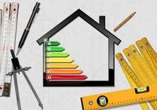 Energieeffizienz - Projekt des ökologischen Hauses Lizenzfreies Stockfoto