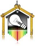 Energieeffizienz - vorbildliches House und Glühlampe stock abbildung