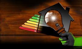 Energieeffizienz - vorbildliches House und Glühlampe Lizenzfreie Stockfotografie
