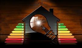 Energieeffizienz - vorbildliches House und Glühlampe Stockfotografie