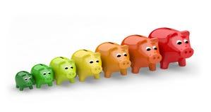 Energieeffizienzbewertungs-Leistungssparschwein Stock Abbildung