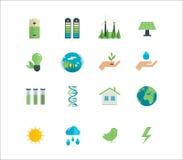 Energieenergie, eco freundliche Ikonen Lizenzfreies Stockfoto