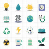 Energieenergieikonen-Weißhintergrund Lizenzfreie Stockfotos