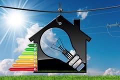 Energieffektivitet - modell House med den ljusa kulan Fotografering för Bildbyråer