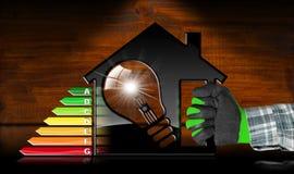 Energieffektivitet - modell House och ljus kula Royaltyfri Bild