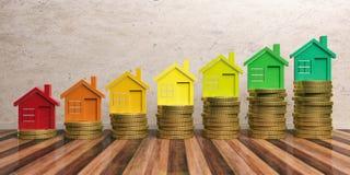 Energieffektivitet och sparar pengarbegrepp illustration 3d Fotografering för Bildbyråer