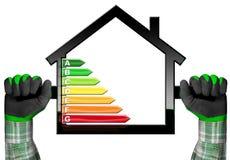 Energieffektivitet - symbol med husmodellen Fotografering för Bildbyråer