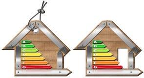 Energieffektivitet - symboler i Shape av huset Royaltyfria Bilder