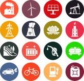 Energieikonen in der Farbe Stockfoto