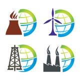 Energieikonensatz Stockfoto