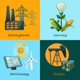 Energieikonensatz Lizenzfreie Stockfotos