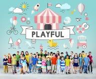 Energiek de Jeugd Speels Concept van kinderenjonge geitjes stock foto's