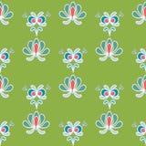Energiek Groen Bloemen Sier Naadloos Patroon Royalty-vrije Stock Afbeelding