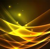 Energielijnen, gloeiende golven op de donkere, vector abstracte achtergrond royalty-vrije illustratie
