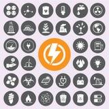 Energiemacht en de reeks van het milieupictogram Vector/EPS10 Stock Afbeeldingen