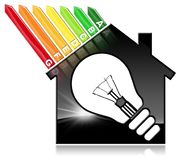 Energierendement - ModelHouse en Gloeilamp Royalty-vrije Stock Afbeelding