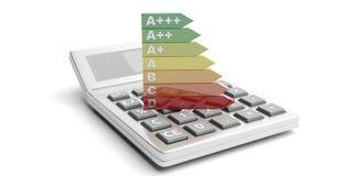 Energierendementclassificatie en calculator op witte achtergrond 3D Illustratie stock illustratie