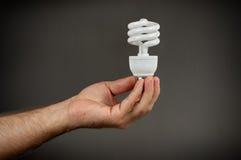 Energiesparende Birne CFL in der Hand Stockbild