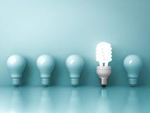 Energiesparende Glühlampe Eco, eine glühende Leuchtstoffglühlampe, die heraus von der unlit weißglühenden Birnenreflexion auf Grü Stockfotos