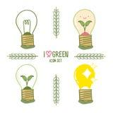 Energiesparende Glühlampe eingestellt in Karikaturart Stockbilder