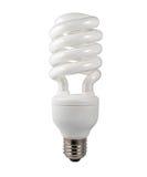 Energiesparende Glühlampe getrennt auf Weiß Stockbilder