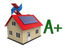 Energiesparendes Haus, Wiedergabe 3d Stockfoto