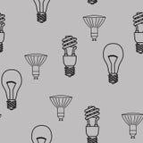 Energiesparendes nahtloses Muster der Glühlampen Vektor lizenzfreie abbildung
