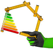 Energiesparkonzept - hölzernes Meter Lizenzfreies Stockbild