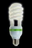 Energiesparlampe auf schwarzem Hintergrund Lizenzfreies Stockfoto