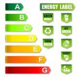 Energietikett och vänlig etikett för miljö Fotografering för Bildbyråer