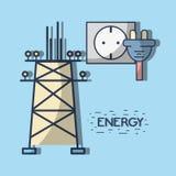 Energieturm und elektronische Kabelenergie Lizenzfreie Stockfotos