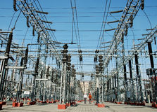 energii elektrycznej linii władze technologii przemysłu Zdjęcie Royalty Free