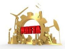 Energii i władzy ikony ustawiać z NAFTA tekstem Fotografia Royalty Free
