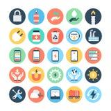 Energii i władzy Barwione Wektorowe ikony 5 ilustracji
