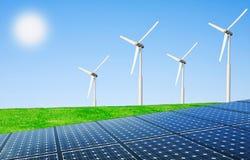 energii netto słońca wiatr Zdjęcia Royalty Free
