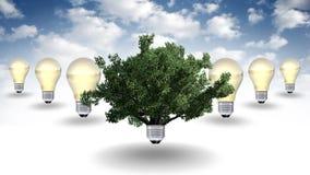 Energii odnawialnej pojęcie, zielony energetyczny symbol Zdjęcia Stock